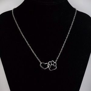 Jewelry - Silver Pet Heart & Paw Necklace